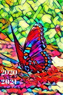 Pretty Teal Blue Red Orange Colorful Butterfly Cute 25 Month Weekly Planer Dated Calendar for Women