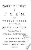 Paradise Lost  A Poem  in Twelve Books  The Author John Milton  From the Text of Thomas Newton D  D