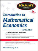 Schaum s Outline of Introduction to Mathematical Economics  3rd Edition