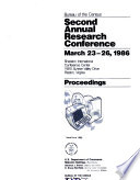 Second Annual Research Conference  March 23 26  1986  Sheraton International Conference Center  11810 Sunrise Valley Drive  Reston  Virginia