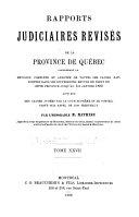 Rapports judiciaires revisés de la province de Québec