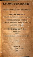 Leçons françaises de littérature et de morale, ou choix de morceaux extraits des meilleurs auteurs français