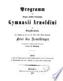 Programm des Evang. Fürstlich Bentheimschen Gymnasii Arnoldini zu Burgsteinfurt, ...