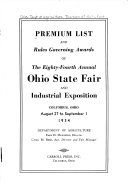 Premiums and Regulations of the     Annual Ohio State Fair and Industrial Exhibition