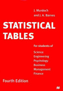 Statistical Tables for Students of Science, Engineering, Psychology, Business, Management, Finance