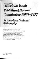 American Book Publishing Record Cumulative  1950 1977