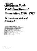 American Book Publishing Record Cumulative  1950 1977