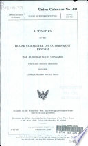 Activities of the House Committee on Government Reform, One Hundred Ninth Congress, First and Second Sessions, 2005-2006
