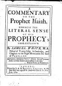 A Commentary on the Prophet Isaiah