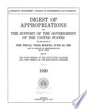 Digest Of Appropriations For The Support Of The Government Of The United States