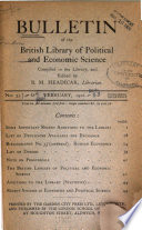 Bulletin of the British Library of Political and Economic Science