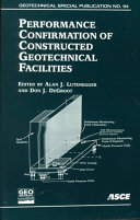 Performance Confirmation of Constructed Geotechnical Facilities Book