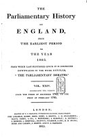 The Parliamentary History of England from the Earliest Period to the Year 1803 ebook
