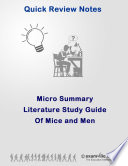 Literature Micro Summary  Of Mice and Men by John Steinbeck