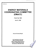 Energy Materials Coordinating Committe  EMaCC   Fiscal Year 1998 Annual Technical Report