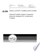 Small entity compliance guide national volatile organic compound emission standards for architectural coatings