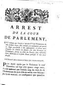 Arrest de la cour du Parlement, qui ordonne que l'article 5 du titre VI de l'ordonnance du mois d'août 1670, sera executé... Extrait des registres du Parlement