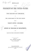 Message from the President of the United States to the two houses of Congress Book PDF