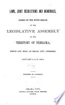 Laws  Joint Resolutions and Memorials Passed at the     Session of the Legislative Assembly of the Territory of Nebraska