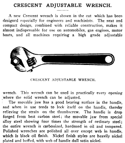 [1909 Notice for Crescent Adjustable Wrenches]