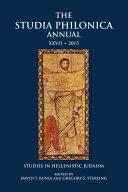 The Studia Philonica Annual XXVII, 2015