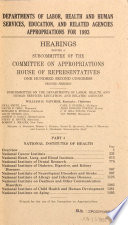 Departments of Labor, Health and Human Services, Education, and Related Agencies Appropriations for 1993: National Institutes of Health