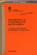 Prohibition of Investments in South Africa