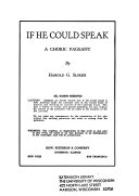 If He Could Speak Book
