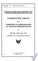 Consolidated and Further Continuing Appropriations Act  2013  June 2013  113 1 House Report Book