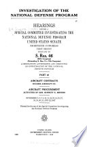 Investigation of the National Defense Program  Aircraft procurement
