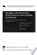 Dealing with Behaviors Perceived as Unacceptable in Schools