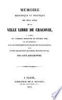 Mémoire Historique Et Politique Sur Létat Actuel De La Ville Libre