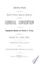Minutes of the Annual Meeting of the General Convention of Congregational Ministers and Churches of Vermont