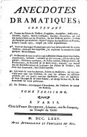 Anecdotes dramatiques (etc.) - Paris, Veuve Duchesne 1775
