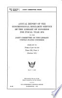 Annual Report of the Congressional Research Service of the Library of Congress for Fiscal Year ... to the Joint Committee on the Library, United States Congress