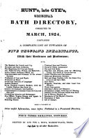 Hunt S Late Gye S Original Bath Directory Corrected To March 1824