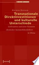 Transnationale Direktinvestitionen und kulturelle Unterschiede