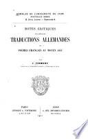 Notes critiques sur quelques traductions allemandes de poèmes français au moyen âge