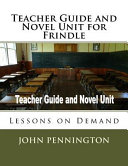Teacher Guide and Novel Unit for Frindle Book