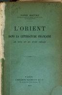L'Orient dans la littérature française au XVIIe et au XVIIIe siècle