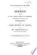 The Manifestation of the Truth  A Sermon Preached     on     August the 1st  1838  Etc