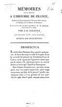 Mémoires pour servir à l'histoire de France ... Prospectus