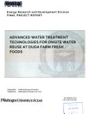 Advanced Water Treatment Technologies for Onsite Water Reuse at Duda Farm Fresh Foods