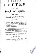 A sixth letter to the people of England  on the progress of national ruin     The second edition   By John Shebbeare
