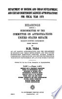 Department of Housing and Urban Development, and Certain Independent Agencies Appropriations for Fiscal Year 1978