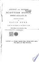Ancient and Modern Scottish Songs  Heroic Ballads  Etc Book