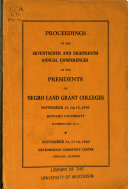 Proceedings of the     Annual Conference of the Presidents of Negro Land Grant Colleges Book