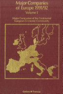 Pdf Major Companies of Europe 1991-1992 Vol. 1 : Major Companies of the Continental European Community Telecharger