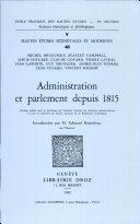 Administration et parlement depuis 1815