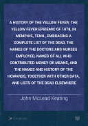 A History of the Yellow Fever